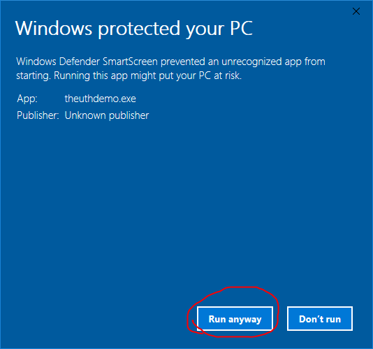 Windows protection warning: more